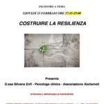 Nuovo incontro a tema: Costruire la resilienza